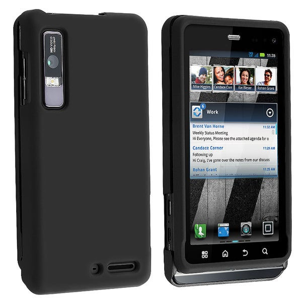BasAcc Black Snap-on Rubber Coated Case for Motorola Droid 3 XT862