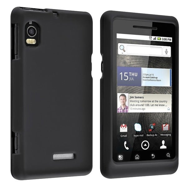 INSTEN Black Snap-on Rubber Coated Phone Case Cover for Motorola A955 Droid 2