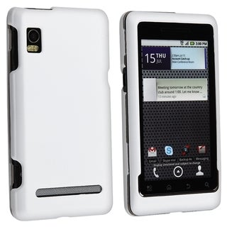 INSTEN White Snap-on Rubber Coated Phone Case Cover for Motorola A955 Droid 2