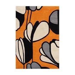 Alliyah Handmade Metro Soft Orange New Zealand Blend Wool Rug 9' x 12'