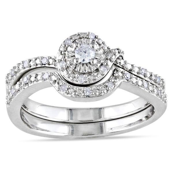 Haylee Jewels Sterling Silver Diamond Bridal Set (H-I, I2-I3)