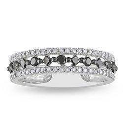 Miadora 10k White Gold 1/2ct TDW Black and White Prong-set Diamond Ring (H-I, I2-I3)