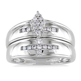 Miadora 10k White Gold 1/4ct TDW Diamond Bridal Ring Set (H-I, I2-I3)