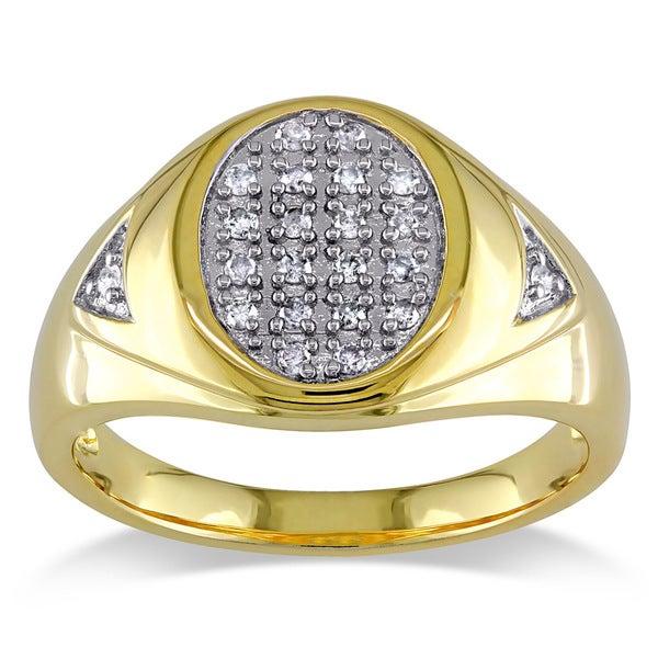 Sterling Silver Men's 1/4ct TDW Diamond Ring (H-I, I3)