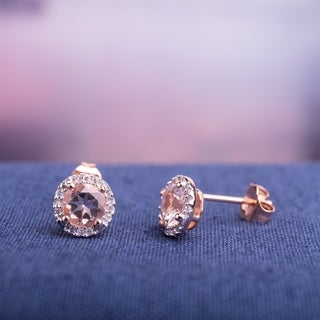 Miadora Rose Goldplated Sterling Silver Morganite and Diamond Earrings