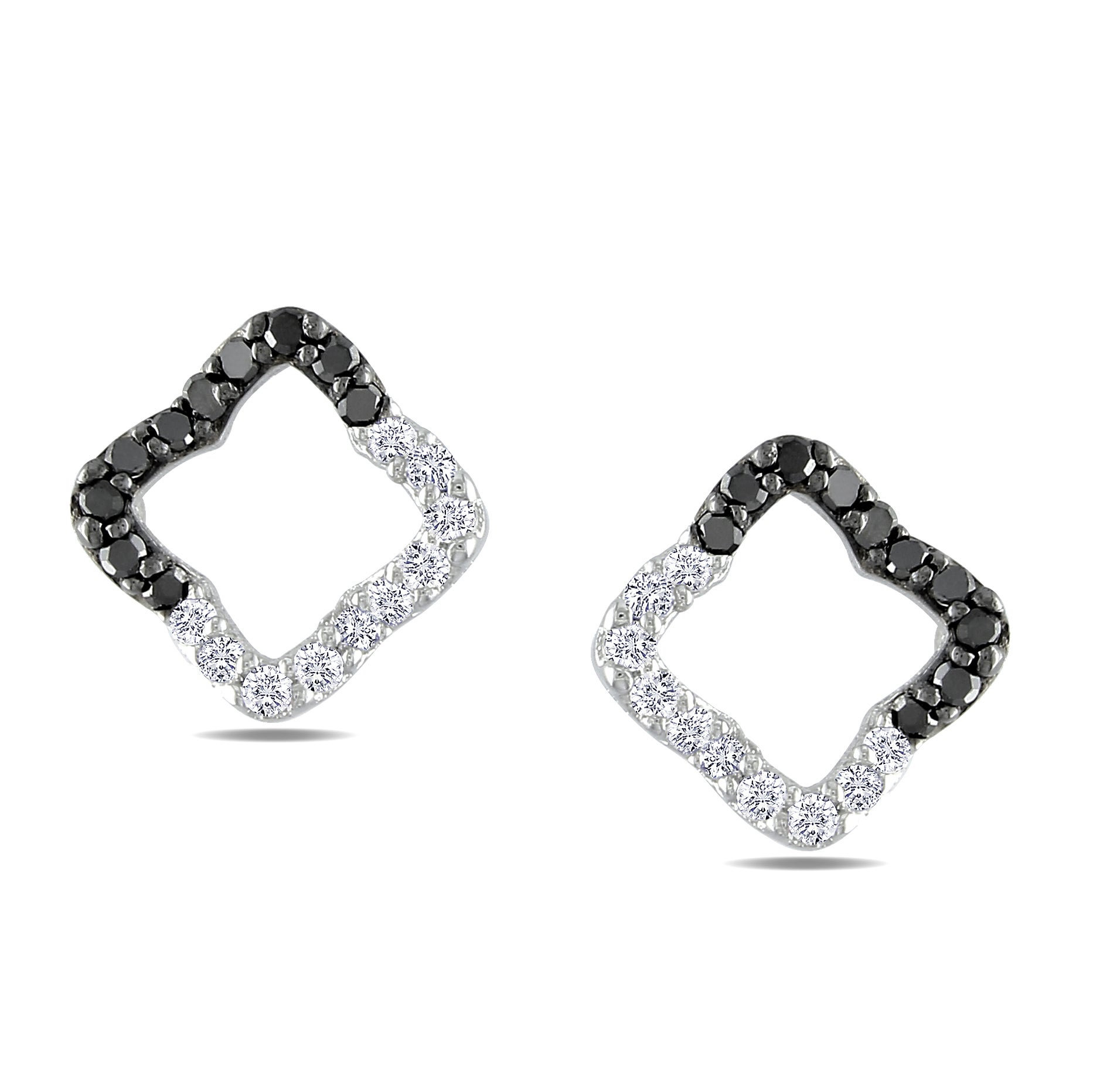 Miadora 14k White Gold 1/4ct TDW Black and White Diamond Earrings (G-H, I1)