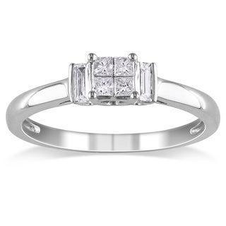 Miadora 10k White Gold 1/4ct TDW Mixed Cut Diamond Ring (H-I, I2-I3)