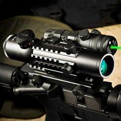 Barska 4x28 IR Electro Sight Multi-rail and Green Laser Sight