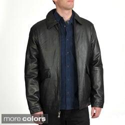 Excelled Men's Lamb Leather Straight Hem Jacket