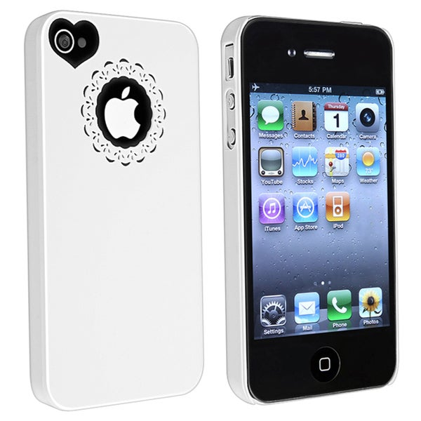 INSTEN White Sweetheart Snap-on Case Cover for Apple iPhone 4/ 4S