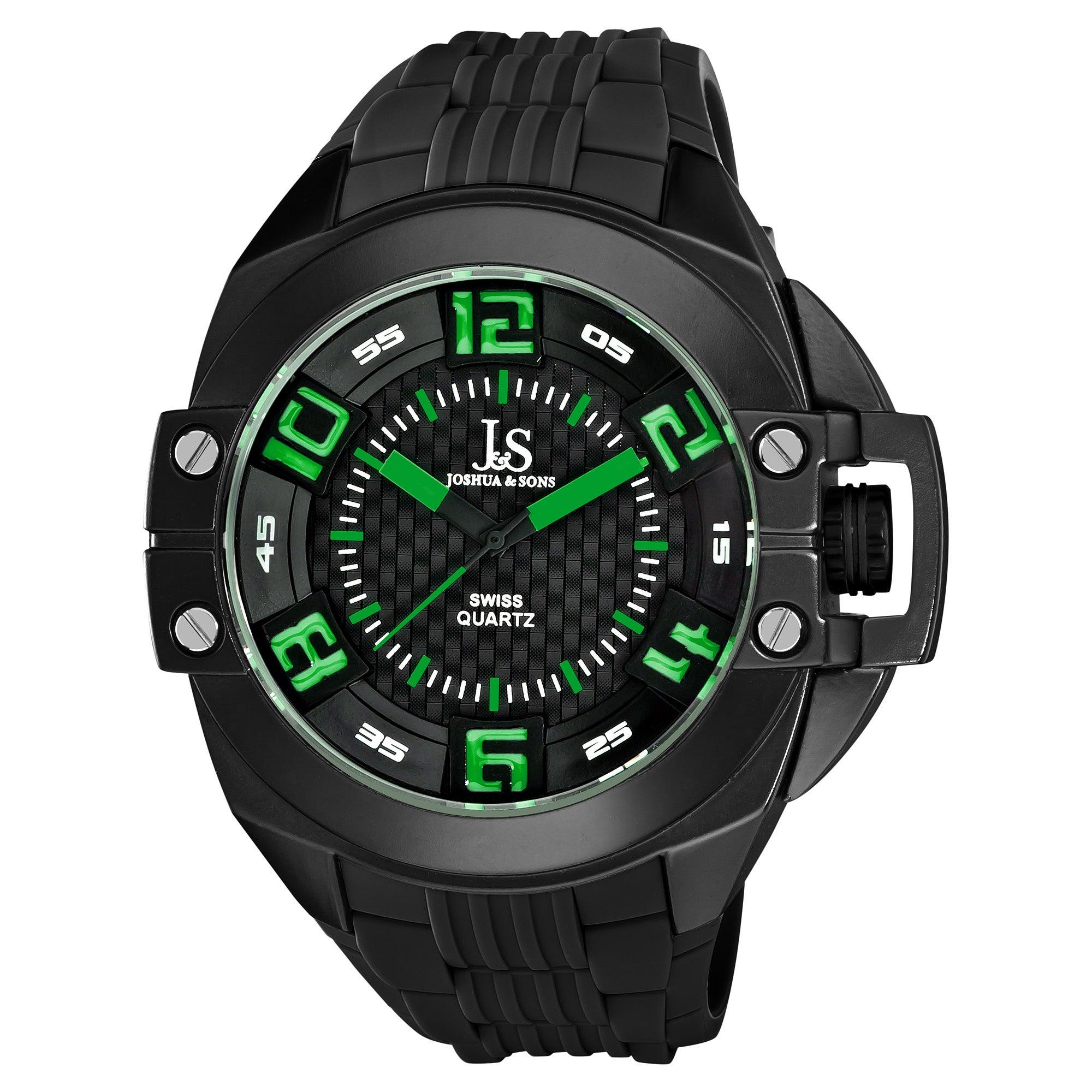 Joshua & Sons Black Men's Swiss Quartz Silicon Strap Crown Guard Watch