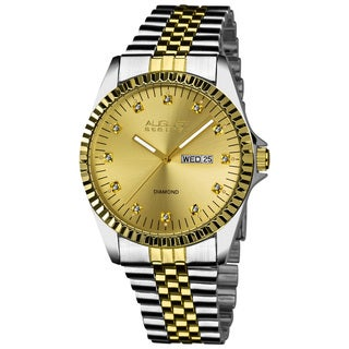 August Steiner Men's Japanese Quartz Diamond Stainless Steel Bracelet Watch