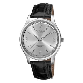 Akribos XXIV Men's Stainless Steel Swiss Quartz Leather-Strap Watch