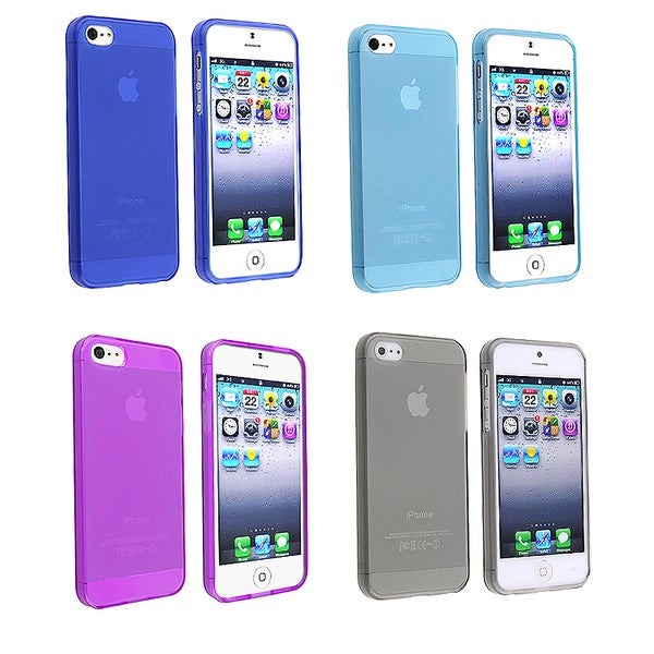 INSTEN Frost Clear Light Blue TPU Phone Case Cover for Apple iPhone 5