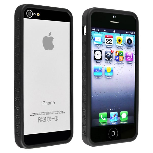 INSTEN Black Bumper TPU Phone Case Cover for Apple iPhone 5