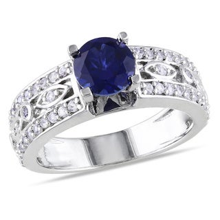 Miadora Sterling Silver Blue Sapphire Engagement Ring