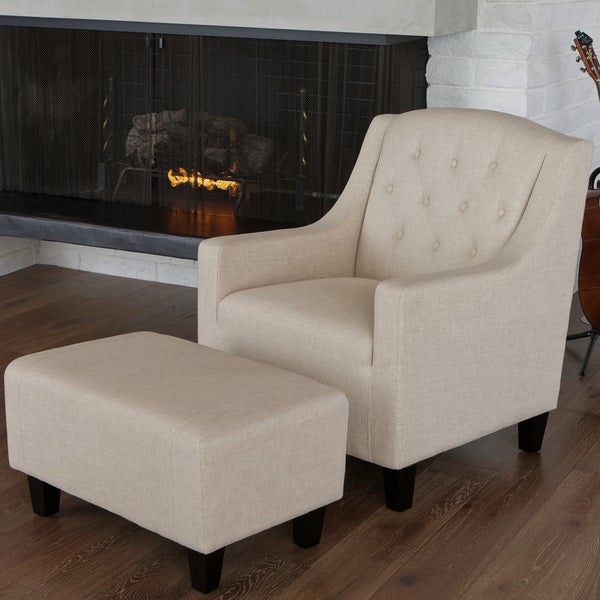 Christopher Knight Home Elaine Beige Tufted Fabric Club Chair with Ottoman
