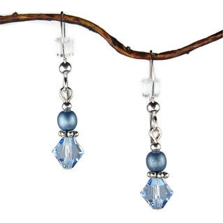 Jewelry by Dawn Blue Bicone Double Bead Sterling Silver Earrings