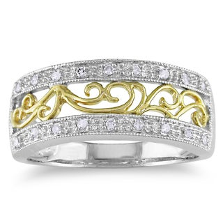 Miadora 10k Two-tone Gold 1/10ct TDW Diamond Ring (H-I, I2-I3)