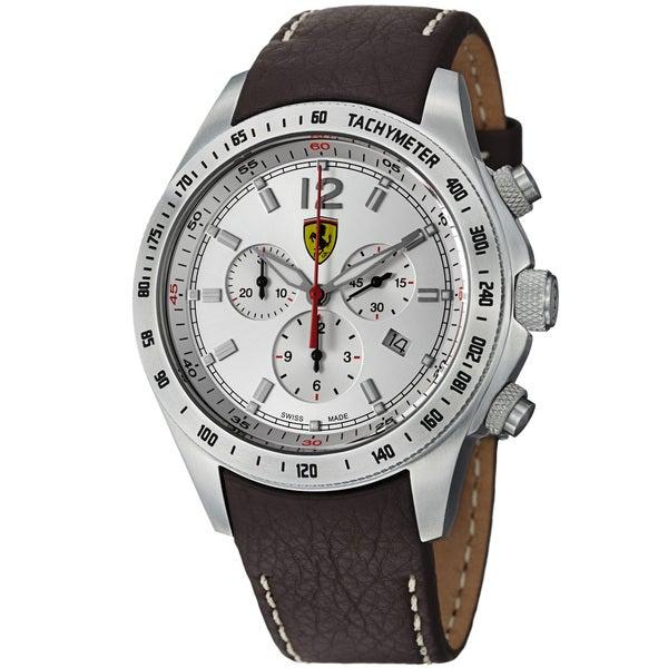 Ferrari Men's FE-07-ACC-CP-SL 'Scuderia' Silver Dial Brown Strap Chronograph Watch