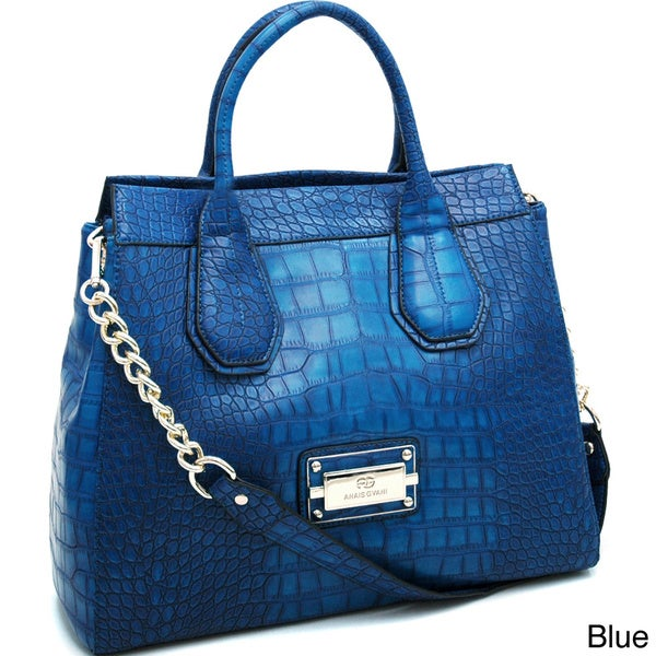 Anais Gvani Gold Chain Large Croco Tote Bag