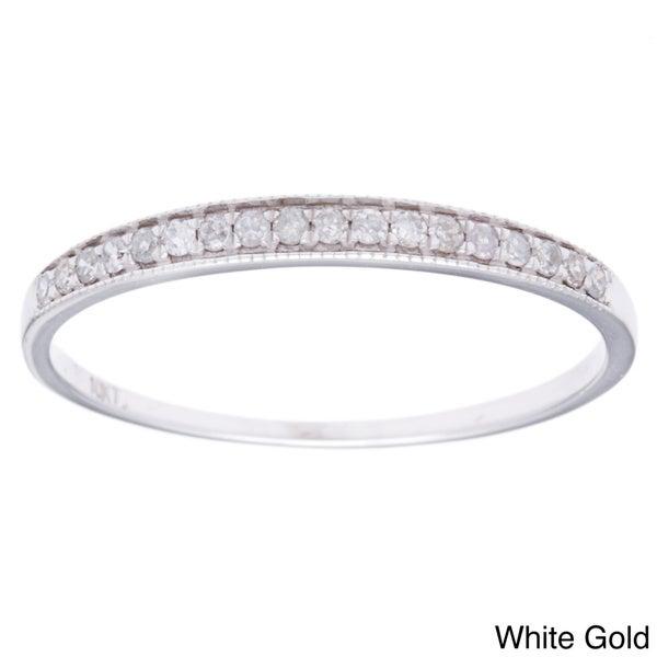 10k Gold 1/6ct TDW Diamond Milligrain Band (G-H, I1-I2)
