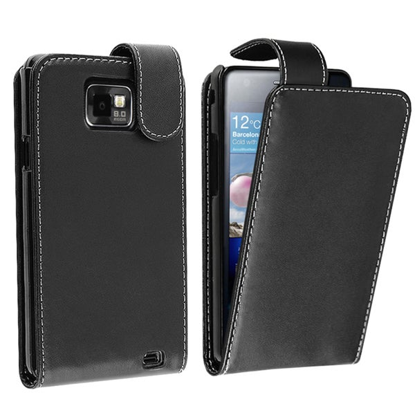 BasAcc Black Leather Case for Samsung© Galaxy S II/ S2 i9100