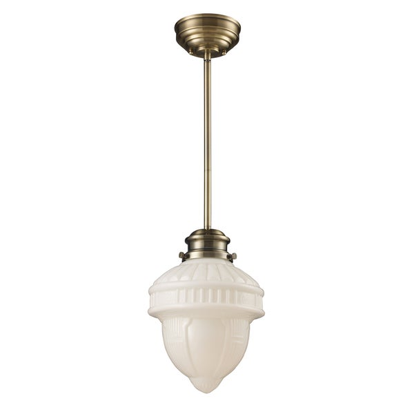 Landmark Lighting Antique Brass School House 1-Light Pendant