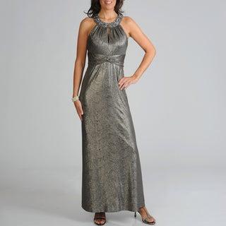 Ignite Evenings Women's Metallic Empire Waist Evening Gown