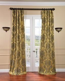Magdelena Gold/ Blue Faux Silk Jacquard Curtains
