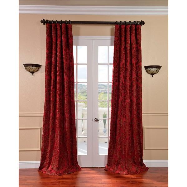 Astoria Red/ Bronze Faux Silk Jacquard Curtains
