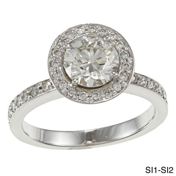 Auriya 14k White Gold 1 1/2ct TDW Certified Diamond Halo Engagement Ring (H-I, SI1-SI2)