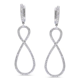 Haylee Jewels Sterling Silver 1/10ct TDW Diamond Infinity Dangle Earrings (H-I, I2-I3)