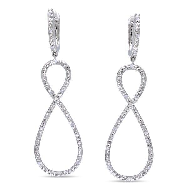 Haylee Jewels Sterling Silver 1/10ct TDW Diamond Infinity Dangle Earrings (H-I, I2-I3)