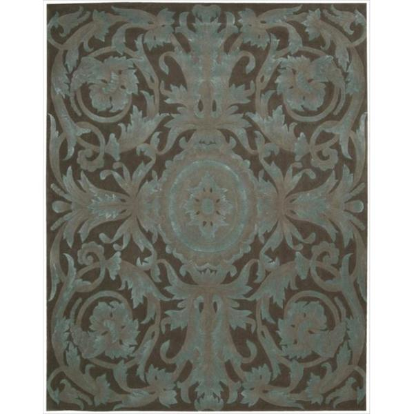 Nourison Hand-tufted Moda Turquoise Chocolate Rug (9'6 x 13'6)
