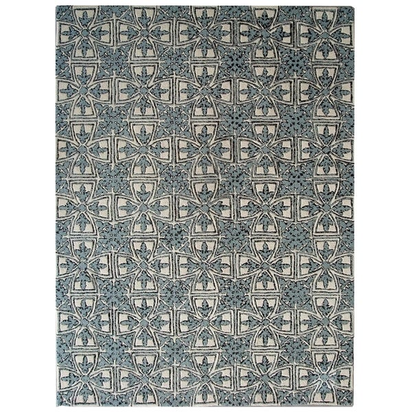Safavieh Handmade Moroccan Chatham Majestic Light Blue/ Ivory Wool Rug (6' x 9')