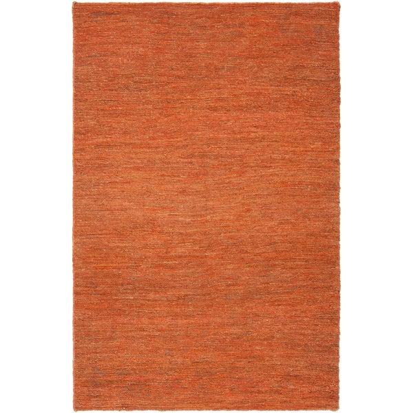 Hand-woven North Orange Natural Fiber Hemp Rug (2' x 3')
