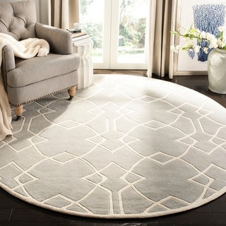 Handmade Marrakesh Grey New Zealand Wool Rug (7' Round)