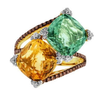 14k Gold Green Amethyst, Citrine, and Diamond Ring 2/5ct TDW (G-H, I2-I3)