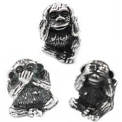 De Buman Sterling Silver See No Evil, Speak No Evil Monkey Charm Beads