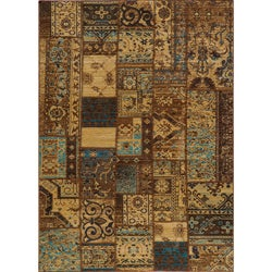 Hand-sheared Patchwork Brown Wool Rug (9'10 x 12'6)