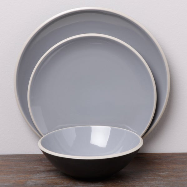 Denby Grey/ Black 12-piece Dinnerware Set