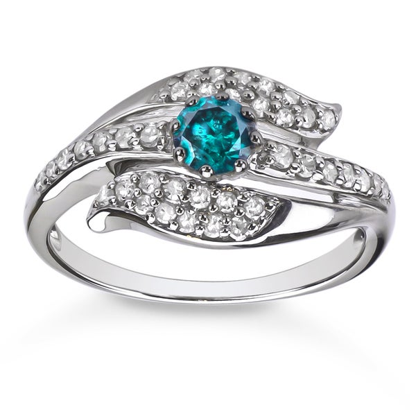 Sterling Silver 5/8ct TDW Blue and White Diamond Ring (H-I, I1-I2)