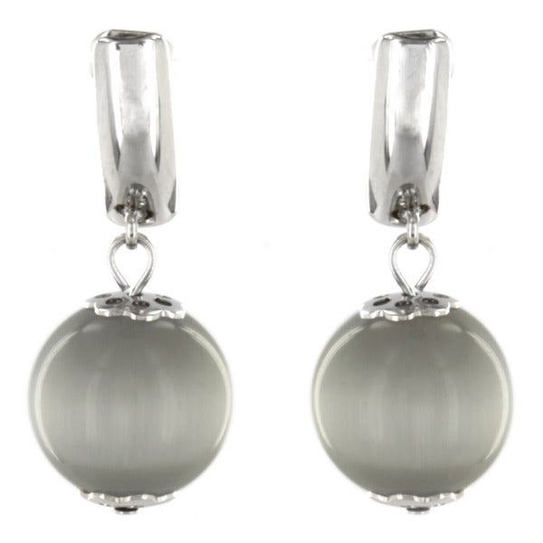 West Coast Jewelry Stainless Steel and Glass Cat's Eye Earrings