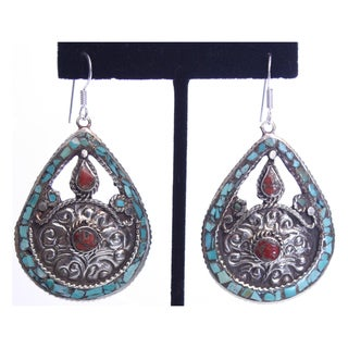 Brass and Sterling Silver Turquoise Teardrop Earrings (Nepal)