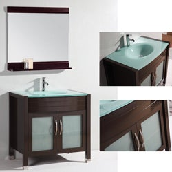 Glass Top 36-inch Single Sink Bathroom Vanity with Matching Mirror