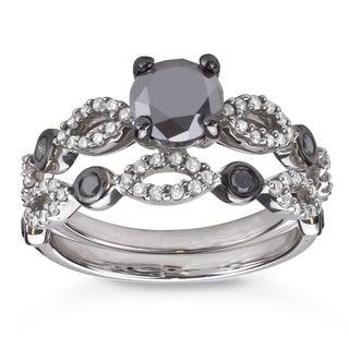 Sterling Silver 1 1/2ct TDW Black and White Diamond Bridal Ring Set (H-I, I1-I2)