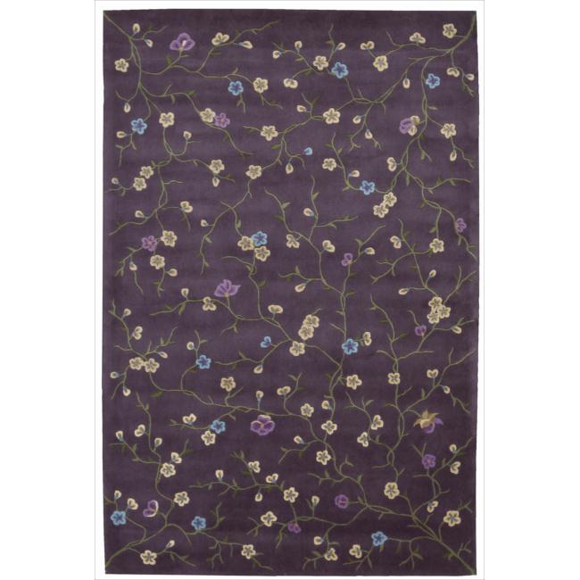 Nourison Hand-tufted Julian Floral Purple Rug (3'6 x 5'6)