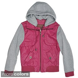 Journee Collection Kid's PU Leather Knit-sleeve Varsity Jacket