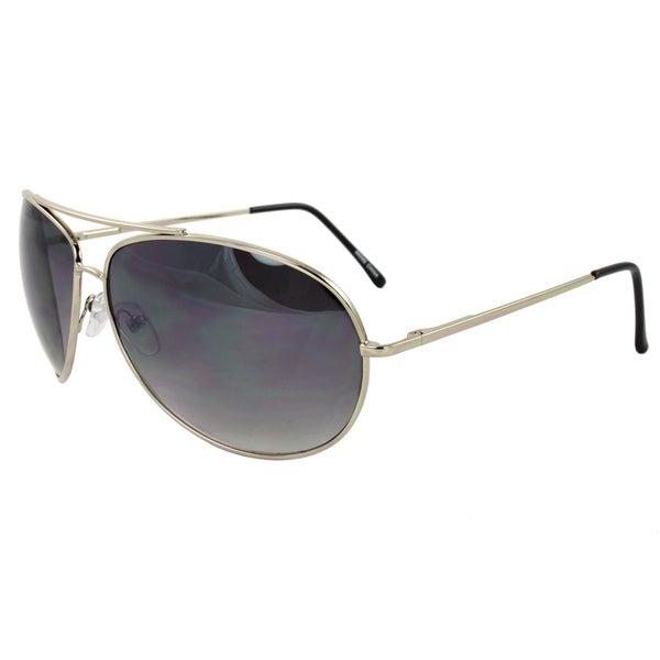 Unisex Metal-Framed Silver Aviator Sunglasses